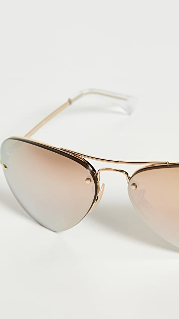 Ray-Ban RB3449 Aviator Rimless Mirrored Sunglasses