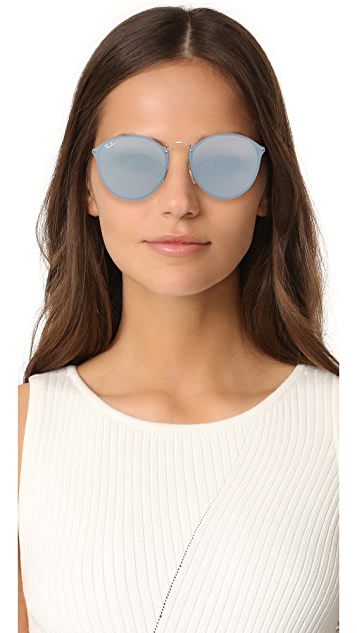Ray-Ban Round Flat Mirrored Sunglasses