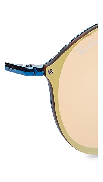 Ray-Ban Round Flat Mirrored Sunglasses