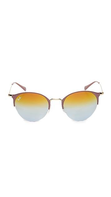 Ray-Ban Округлые зеркальные солнцезащитные очки Phantos в половинчатой оправе