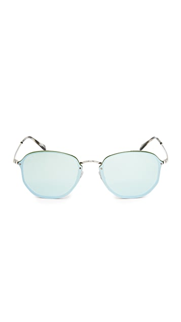 Ray-Ban Octagon Flat Mirrored Sunglasses