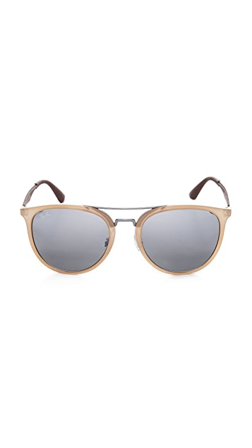 Ray-Ban Round Brow Bar Mirrored Aviator Sunglasses