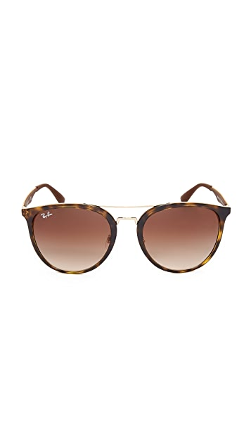 Ray-Ban Round Brow Bar Aviator Sunglasses
