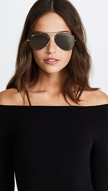 Ray-Ban Blaze Flat Lens Pilot Aviator Sunglasses