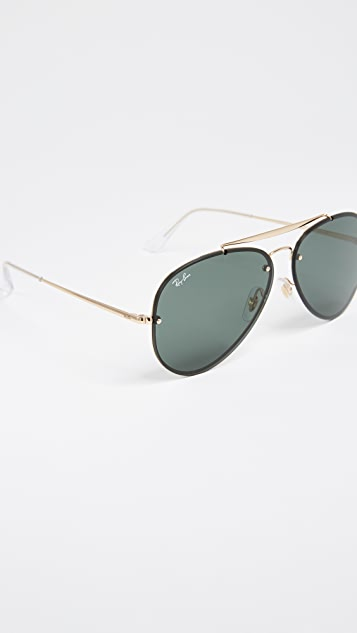 398d202b9b82 Ray-Ban Blaze Flat Lens Pilot Aviator Sunglasses | SHOPBOP