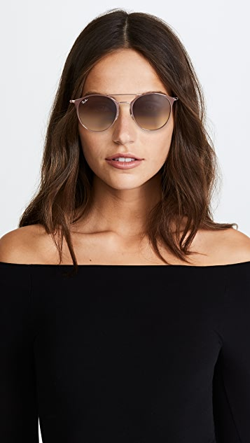Ray-Ban Round Browbar Sunglasses