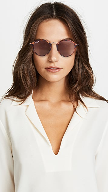 Ray-Ban RB2447 Round Fleck Polarized Sunglasses