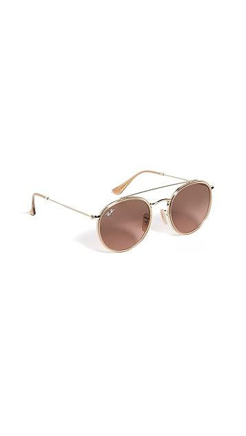 Ray-Ban RB3647N Round Double Bridge Aviator Sunglasses