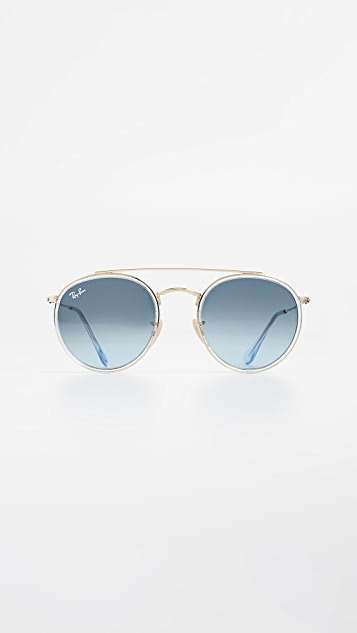Ray Ban Rb3647n Round Double Bridge Aviator Sunglasses