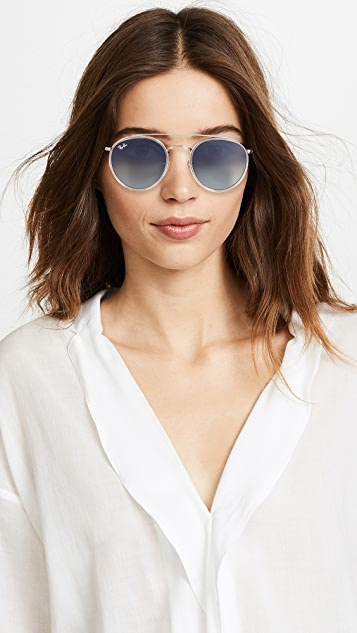 Ray-Ban RB3647N Round Double Bridge Aviator Sunglasses