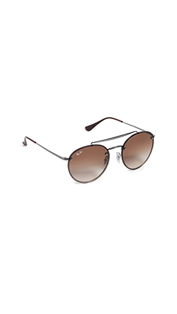 Ray-Ban RB3614N Blaze Rimless Round Aviator Sunglasses
