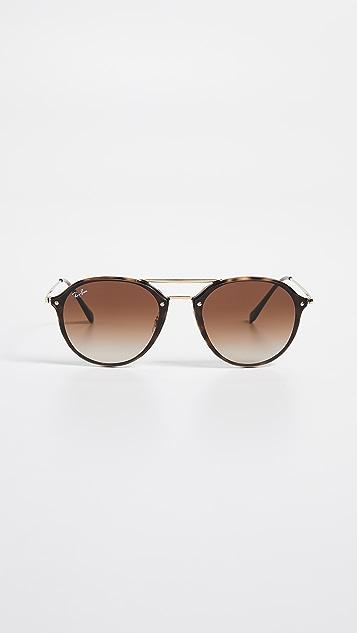 Ray-Ban Округлые солнцезащитные очки-авиаторы с металлической перемычкой