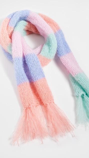 Rose Carmine 条纹围巾