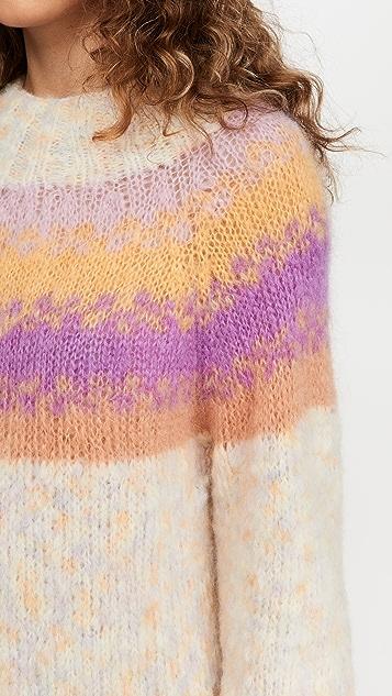 Rose Carmine High Neck Alpaca Sweater