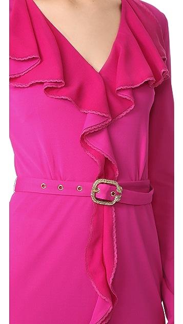 Roberto Cavalli Long Sleeve Ruffle Dress
