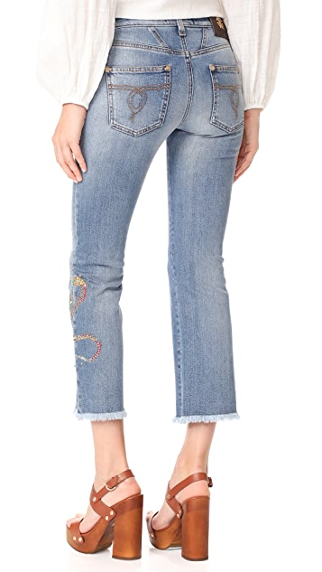 Roberto Cavalli Cropped Embroidered Jeans