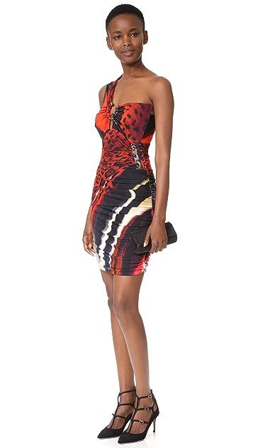 Roberto Cavalli One Shoulder Cutout Dress
