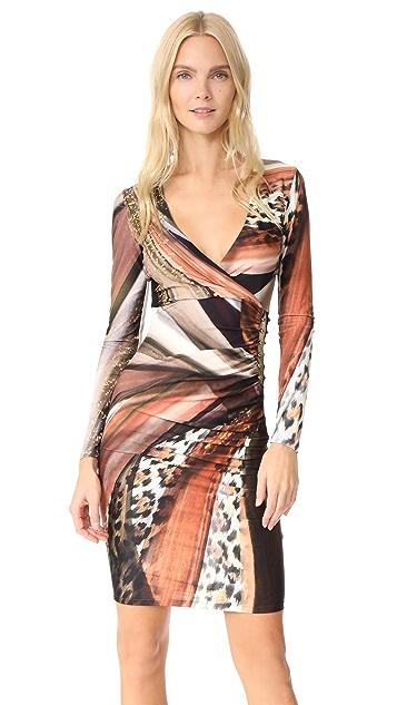Roberto Cavalli Printed V Neck Dress