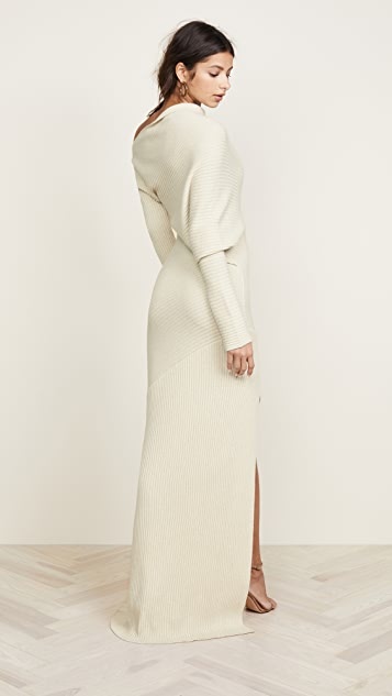 Roberto Cavalli One Shoulder Long Sleeve Knit Dress