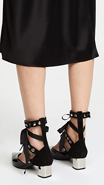 Robert Clergerie x Self Portrait Susao Grommet Strap Pumps