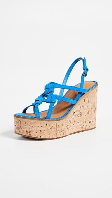 Robert Clergerie Platform Wedge Sandals - Blue