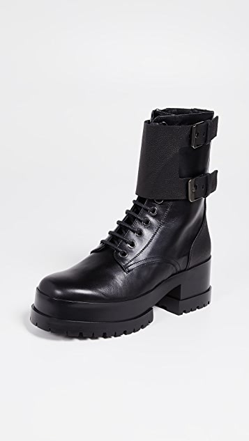 Clergerie Willy Combat Platform Boots - Black