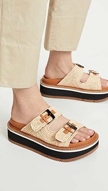 Clergerie Aix Two Band Slide Sandals