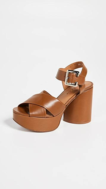 Clergerie Vianne Platform Sandals - Papaya Calf