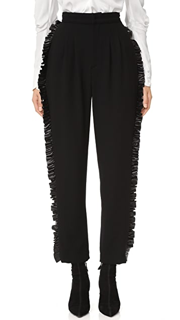 Rodarte Wool Trousers with Leather Ruffle