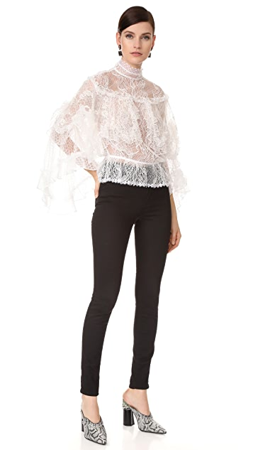 Rodarte Lace Tiered Ruffle Blouse