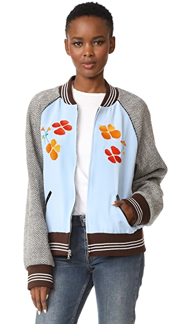 Rodarte Los Angeles Poppy Embroidery Bomber Jacket