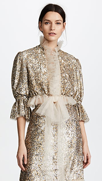 Rodarte Metallic Cropped Ruffle Top