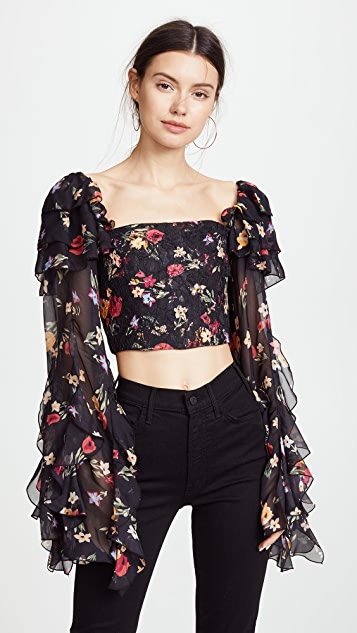 Rodarte Floral Long Sleeve Cropped Blouse