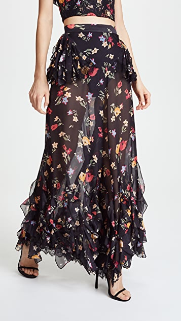 Rodarte Floral Pants with Lace Detail