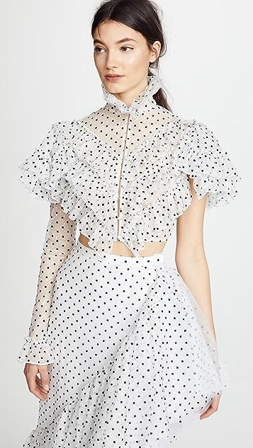 Rodarte Polka Dot One Sleeve Cropped Blouse