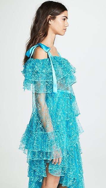 Rodarte Кружевная многоуровневая блуза с цветочным рисунком и открытыми плечами