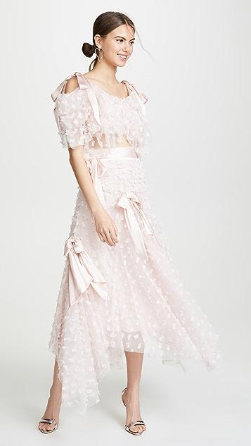 Rodarte 刺绣层褶露肩女式衬衫