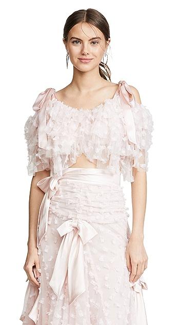 Rodarte Блуза с многоуровневыми открытыми плечами и вышивкой
