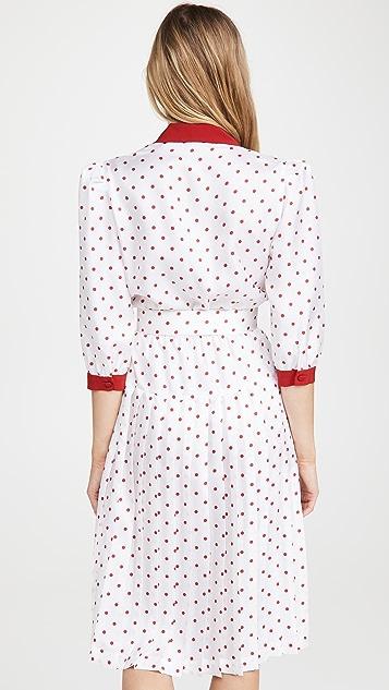 Rodarte Red And White Polka Dot Pleated Dress