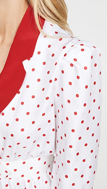 Rodarte Red And White Polka Dot Pleated Dress