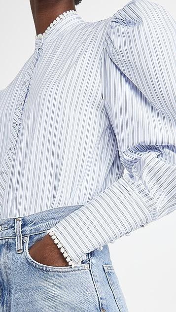 Rodarte White And Blue Striped Cotton Button Up