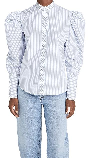 Rodarte 白蓝条纹棉质系扣上衣