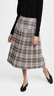 Rodarte 粉蓝格子裥褶半身裙
