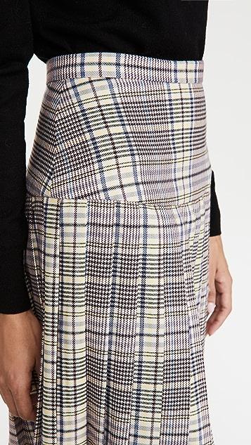Rodarte Pink And Blue Plaid Pleated Skirt