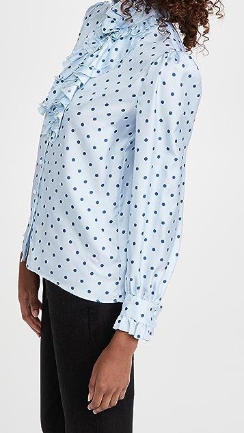 Rodarte 浅蓝搭配深海蓝圆点花纹真丝斜纹织物
