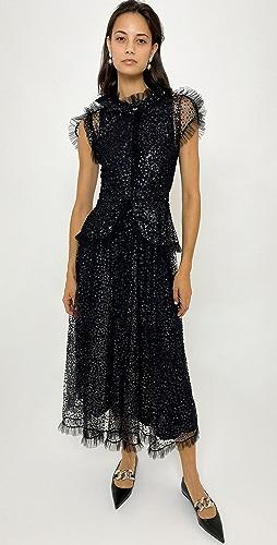 Rodarte - 黑色和银色植绒薄纱连衣裙