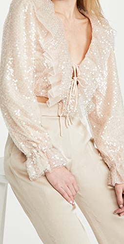 Rodarte - Pale Pink Sequin Cropped Blouse With Ruffle