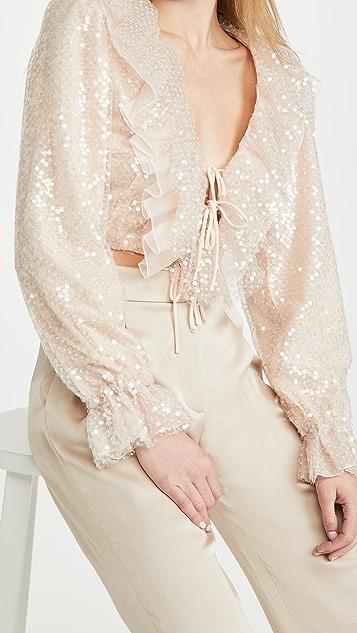 Rodarte 浅粉色亮片荷叶边短款女式衬衫