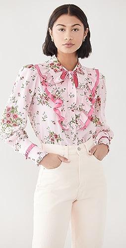 Rodarte - Pink Daisy Silk Ruffled Blouse with Tie