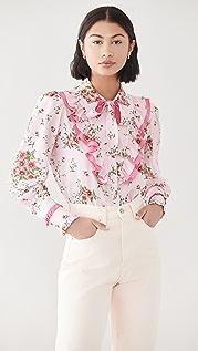 Rodarte Pink Daisy Silk Ruffled Blouse with Tie